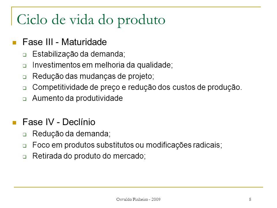 Osvaldo Pinheiro - 20098 Ciclo de vida do produto Fase III - Maturidade Estabilização da demanda; Investimentos em melhoria da qualidade; Redução das