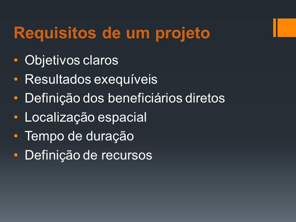 Requisitos de um projeto Objetivos claros Resultados exequíveis Definição dos beneficiários diretos Localização espacial Tempo de duração Definição de recursos