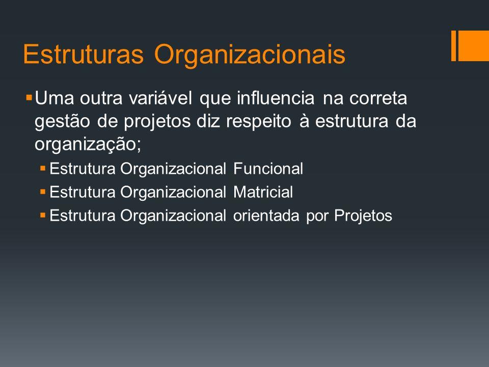 Estruturas Organizacionais Uma outra variável que influencia na correta gestão de projetos diz respeito à estrutura da organização; Estrutura Organizacional Funcional Estrutura Organizacional Matricial Estrutura Organizacional orientada por Projetos