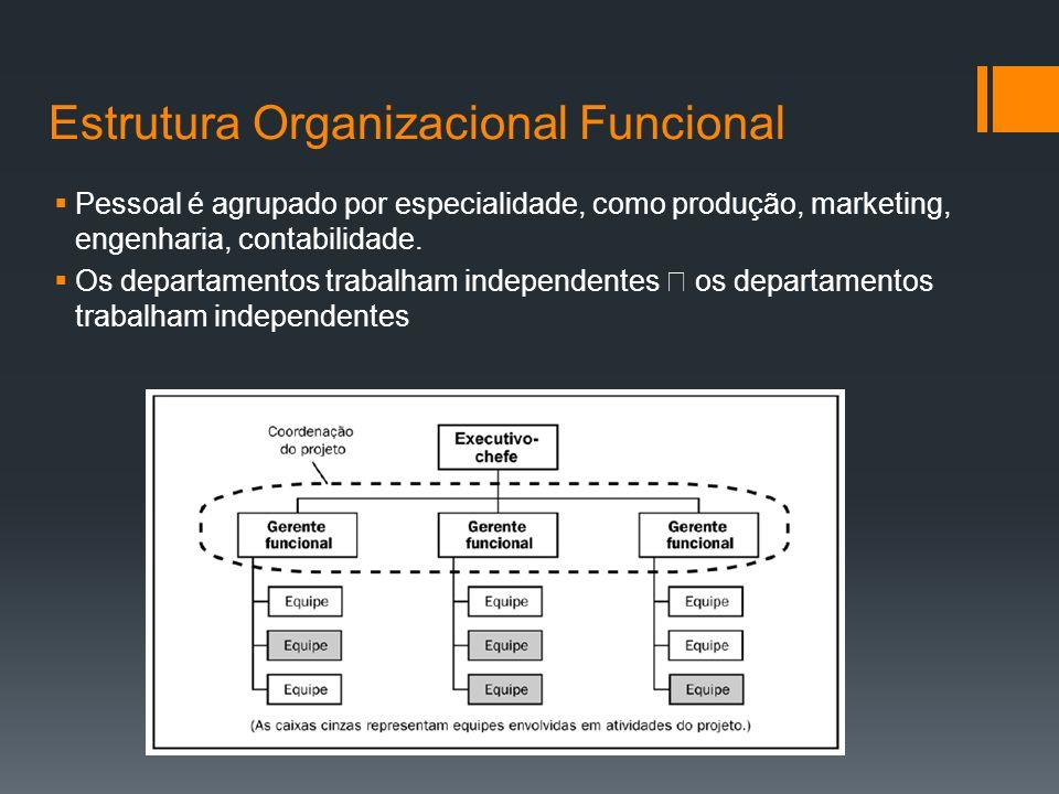 Estrutura Organizacional Funcional Pessoal é agrupado por especialidade, como produção, marketing, engenharia, contabilidade.