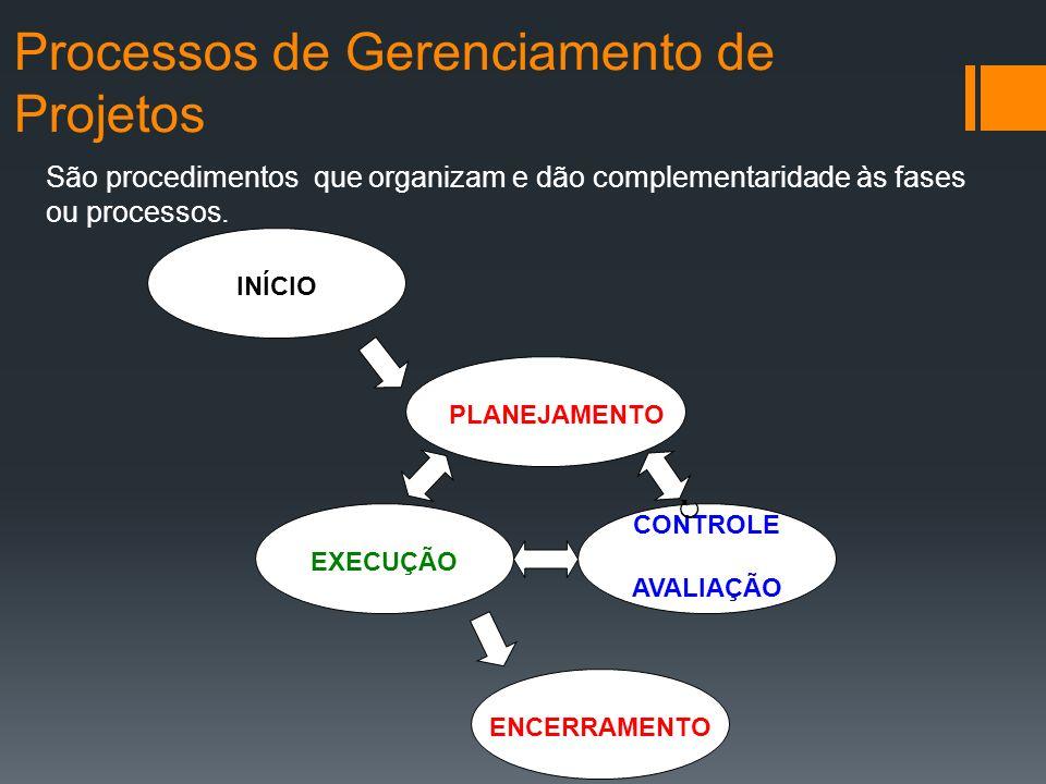 Processos de Gerenciamento de Projetos INÍCIO PLANEJAMENTO EXECUÇÃO ENCERRAMENTO CONTROLE AVALIAÇÃO São procedimentos que organizam e dão complementaridade às fases ou processos.