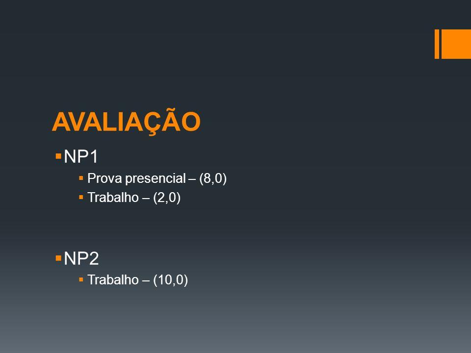 AVALIAÇÃO NP1 Prova presencial – (8,0) Trabalho – (2,0) NP2 Trabalho – (10,0)