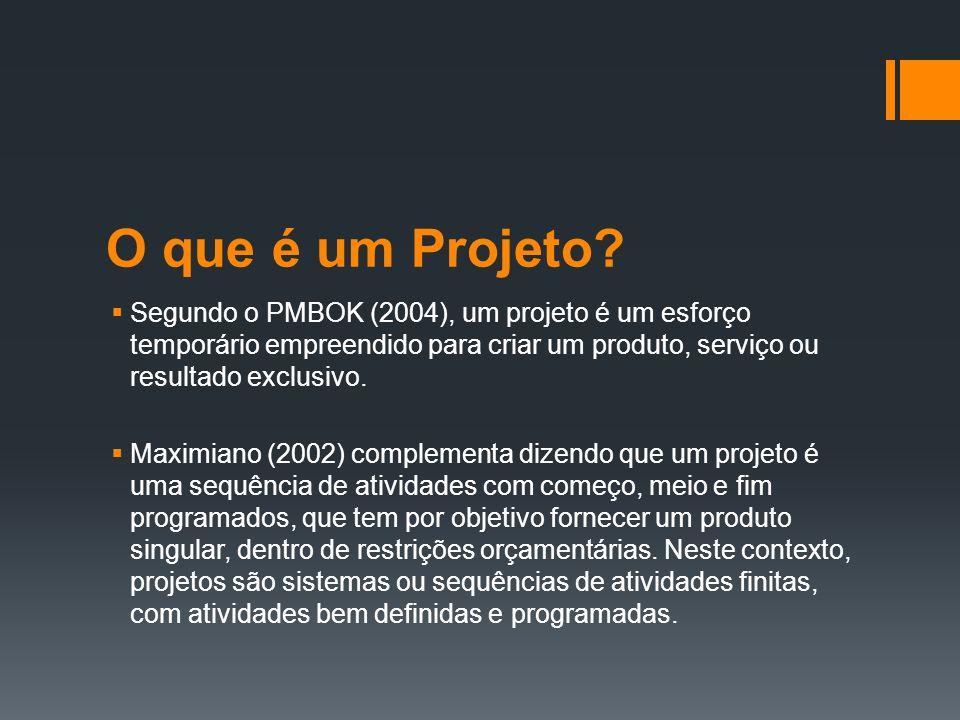 O que é um Projeto.Vargas (1999, pág. 7) classifica um projeto como sendo:...
