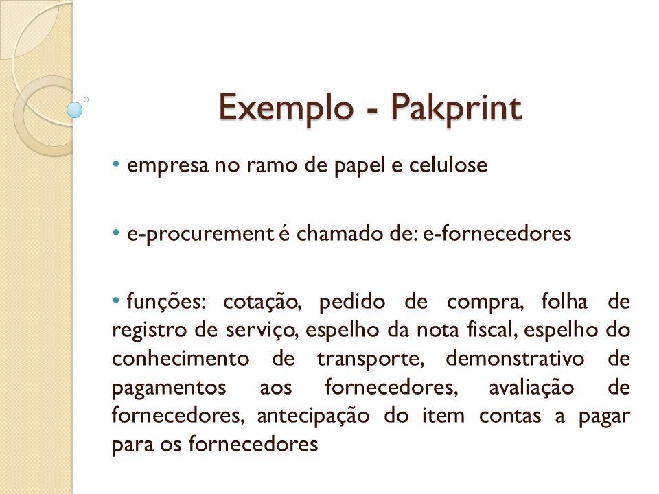 Exemplo - Pakprint empresa no ramo de papel e celulose e-procurement é chamado de: e-fornecedores funções: cotação, pedido de compra, folha de registr