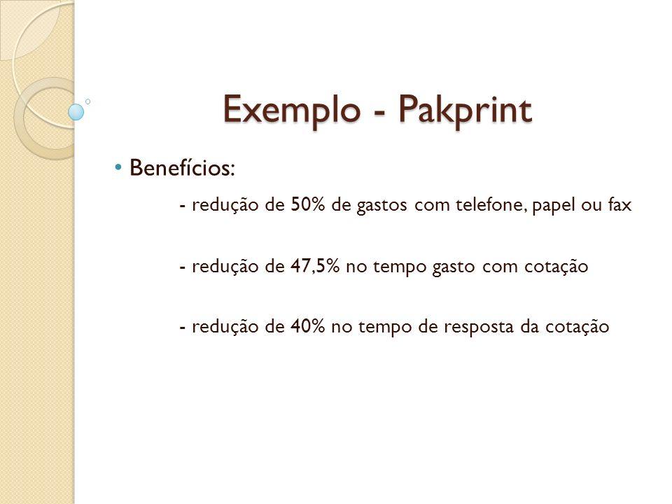 Exemplo - Pakprint Benefícios: - redução de 50% de gastos com telefone, papel ou fax - redução de 47,5% no tempo gasto com cotação - redução de 40% no