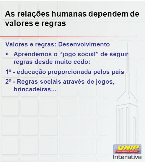 As relações humanas dependem de valores e regras Valores e regras: Desenvolvimento Aprendemos o jogo social de seguir regras desde muito cedo: 1º - ed