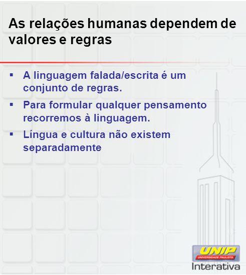 As relações humanas dependem de valores e regras A linguagem falada/escrita é um conjunto de regras. Para formular qualquer pensamento recorremos à li