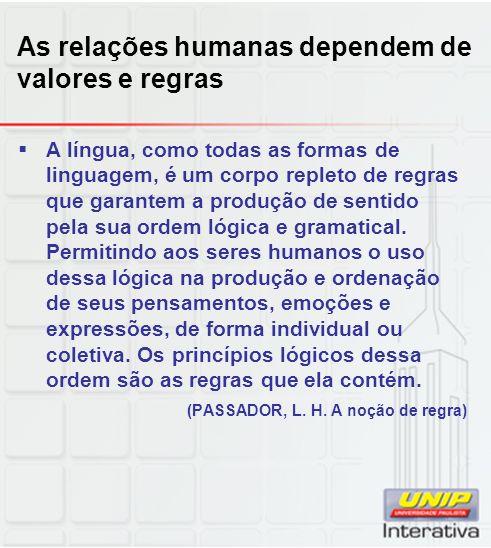 As relações humanas dependem de valores e regras A língua, como todas as formas de linguagem, é um corpo repleto de regras que garantem a produção de
