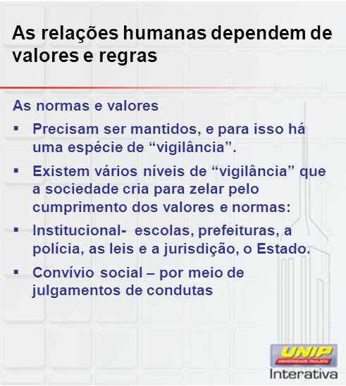As relações humanas dependem de valores e regras As normas e valores Precisam ser mantidos, e para isso há uma espécie de vigilância. Existem vários n