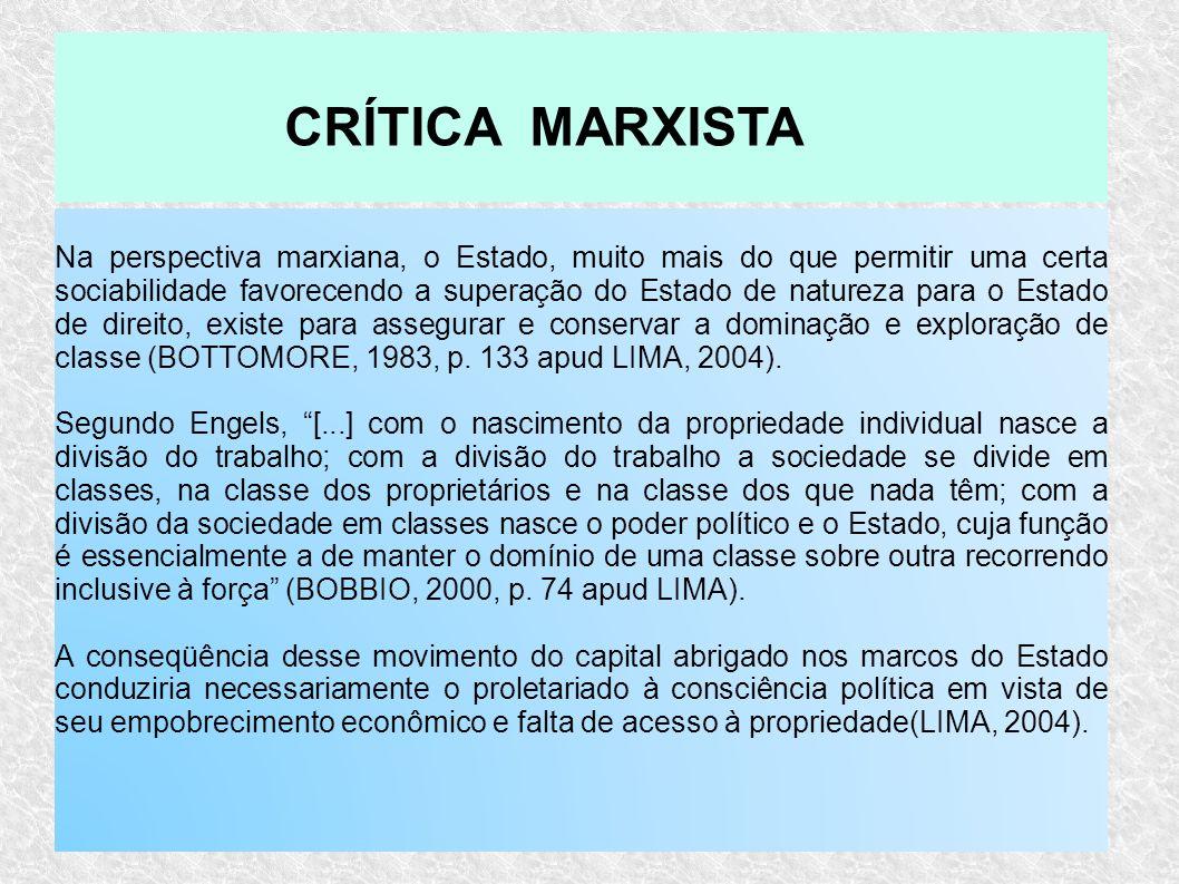 Na perspectiva marxiana, o Estado, muito mais do que permitir uma certa sociabilidade favorecendo a superação do Estado de natureza para o Estado de d