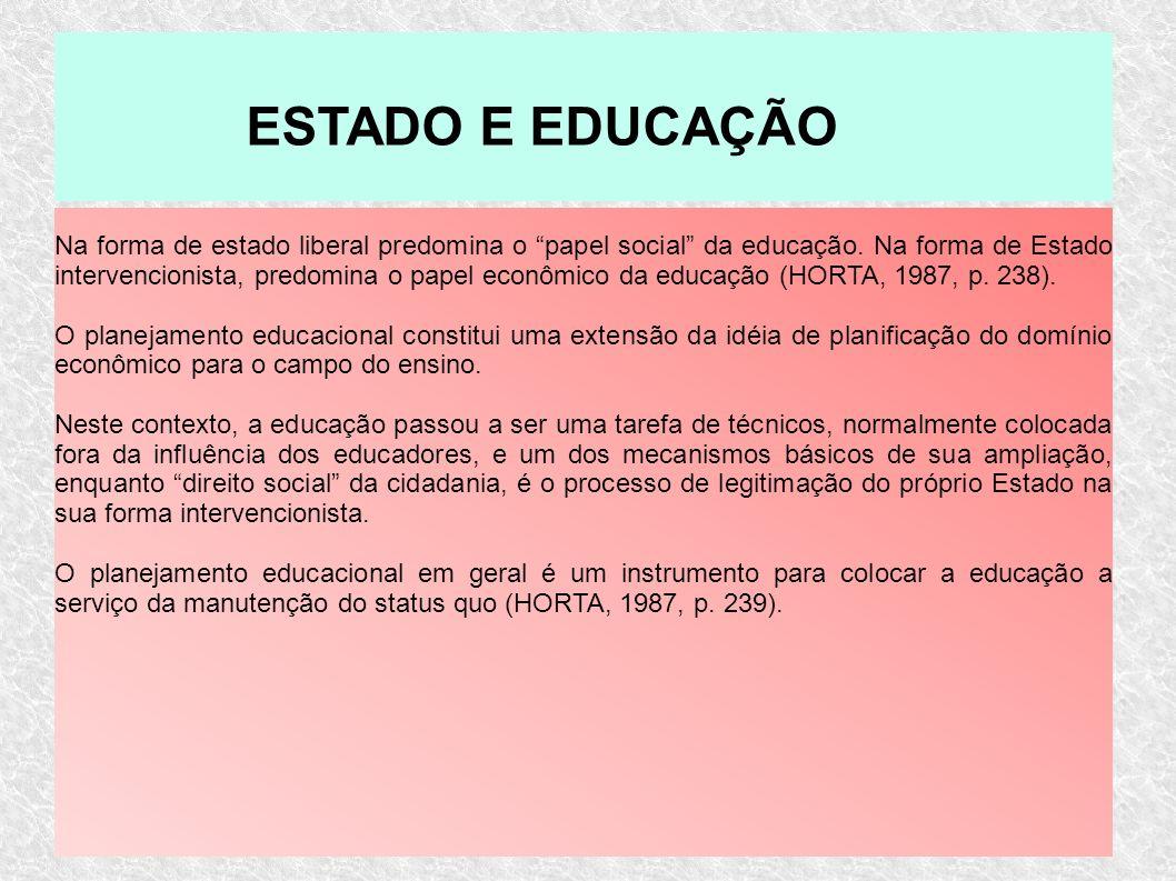 Na forma de estado liberal predomina o papel social da educação. Na forma de Estado intervencionista, predomina o papel econômico da educação (HORTA,