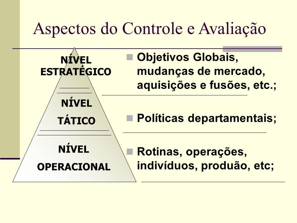 NÍVEL ESTRATÉGICO NÍVEL TÁTICO NÍVEL OPERACIONAL Aspectos do Controle e Avaliação Objetivos Globais, mudanças de mercado, aquisições e fusões, etc.; P