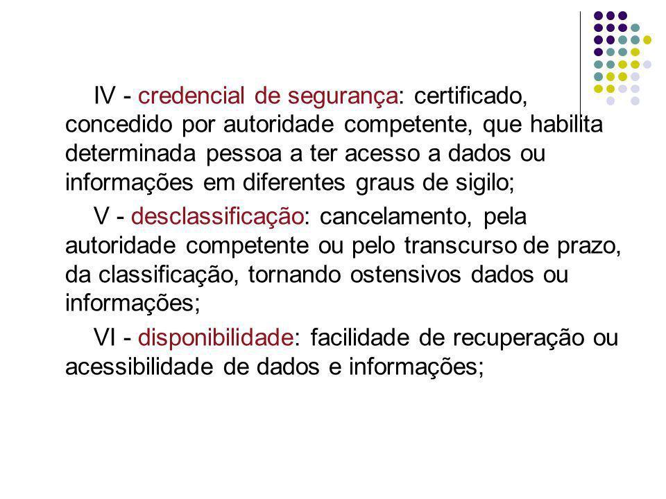 VII - grau de sigilo: gradação atribuída a dados, informações, área ou instalação considerados sigilosos em decorrência de sua natureza ou conteúdo; VIII - integridade: incolumidade de dados ou informações na origem, no trânsito ou no destino; IX - investigação para credenciamento: averiguação sobre a existência dos requisitos indispensáveis para concessão de credencial de segurança;