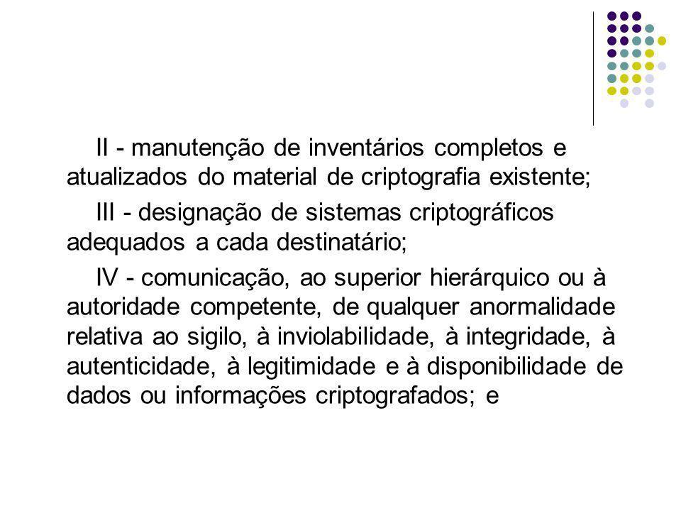 V - identificação de indícios de violação ou interceptação ou de irregularidades na transmissão ou recebimento de dados e informações criptografados.