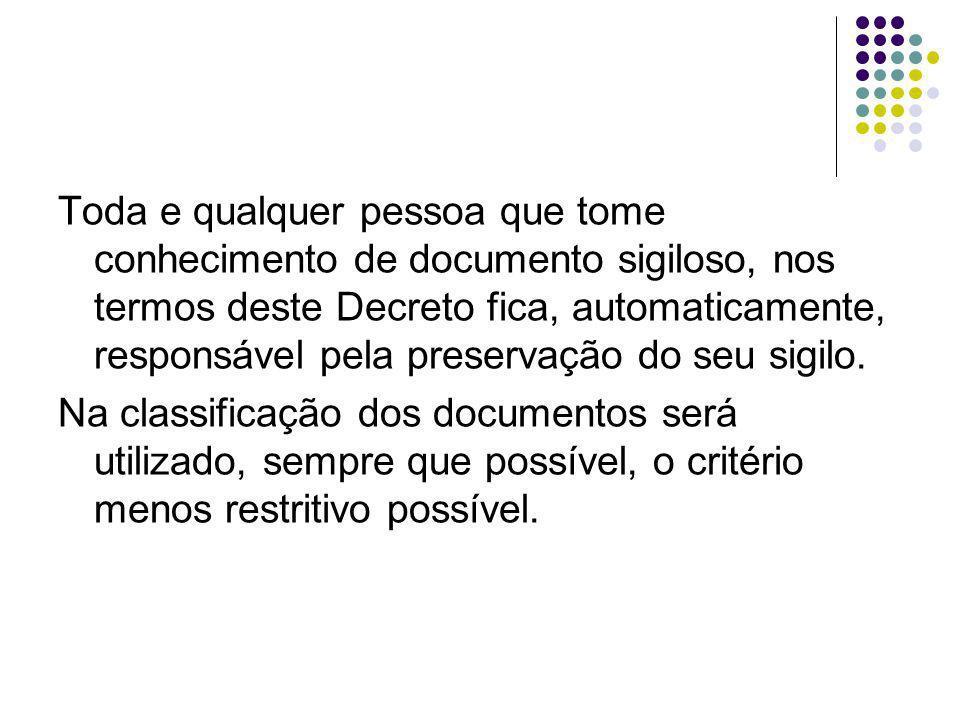 Toda e qualquer pessoa que tome conhecimento de documento sigiloso, nos termos deste Decreto fica, automaticamente, responsável pela preservação do se
