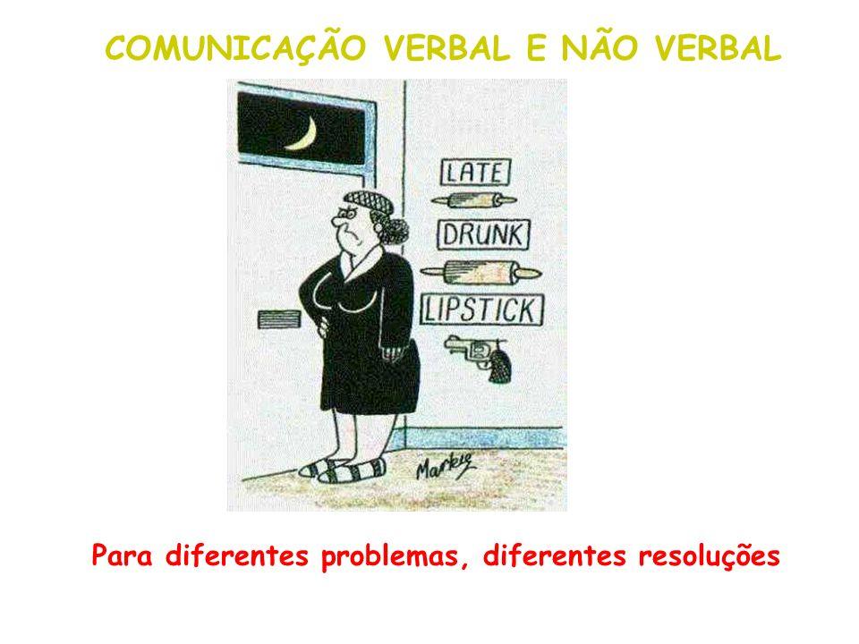 Para diferentes problemas, diferentes resoluções COMUNICAÇÃO VERBAL E NÃO VERBAL