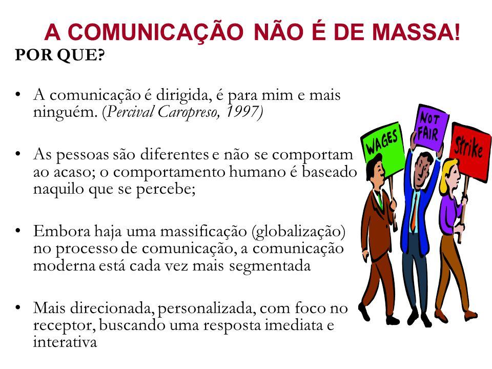 A COMUNICAÇÃO NÃO É DE MASSA! POR QUE? A comunicação é dirigida, é para mim e mais ninguém. (Percival Caropreso, 1997) As pessoas são diferentes e não