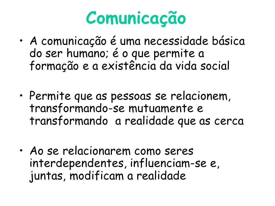 Comunicação A comunicação é uma necessidade básica do ser humano; é o que permite a formação e a existência da vida social Permite que as pessoas se relacionem, transformando-se mutuamente e transformando a realidade que as cerca Ao se relacionarem como seres interdependentes, influenciam-se e, juntas, modificam a realidade