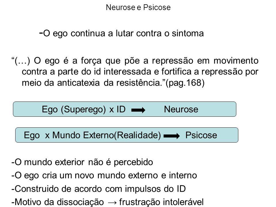 Neurose e Psicose - O ego continua a lutar contra o sintoma (…) O ego é a força que põe a repressão em movimento contra a parte do id interessada e fo