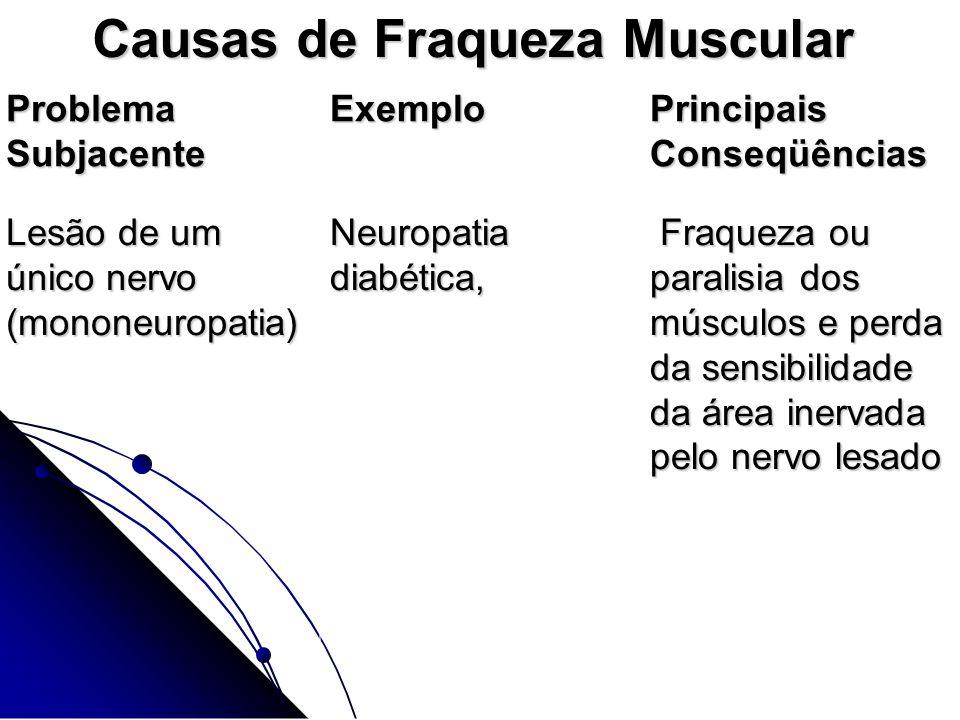 Causas de Fraqueza Muscular Problema Subjacente Exemplo Principais Conseqüências Lesão de um único nervo (mononeuropatia) Lesão de um único nervo (mon