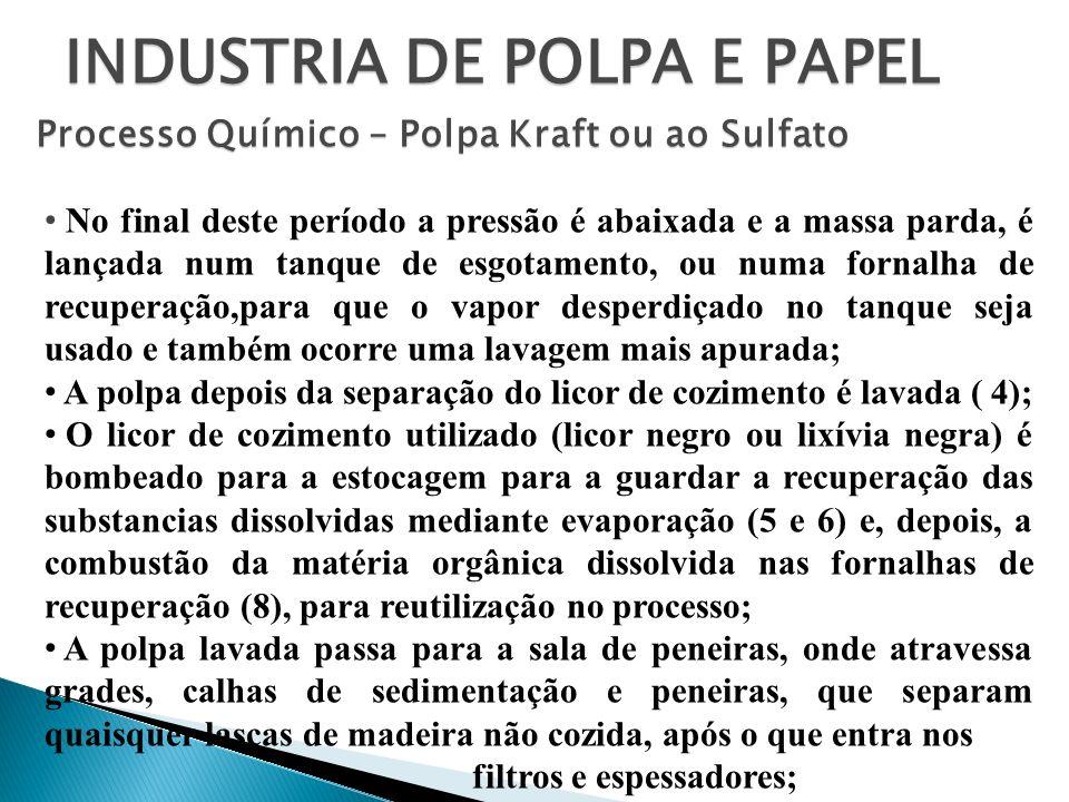 INDUSTRIA DE POLPA E PAPEL Processo Químico – Polpa Kraft ou ao Sulfato No final deste período a pressão é abaixada e a massa parda, é lançada num tan