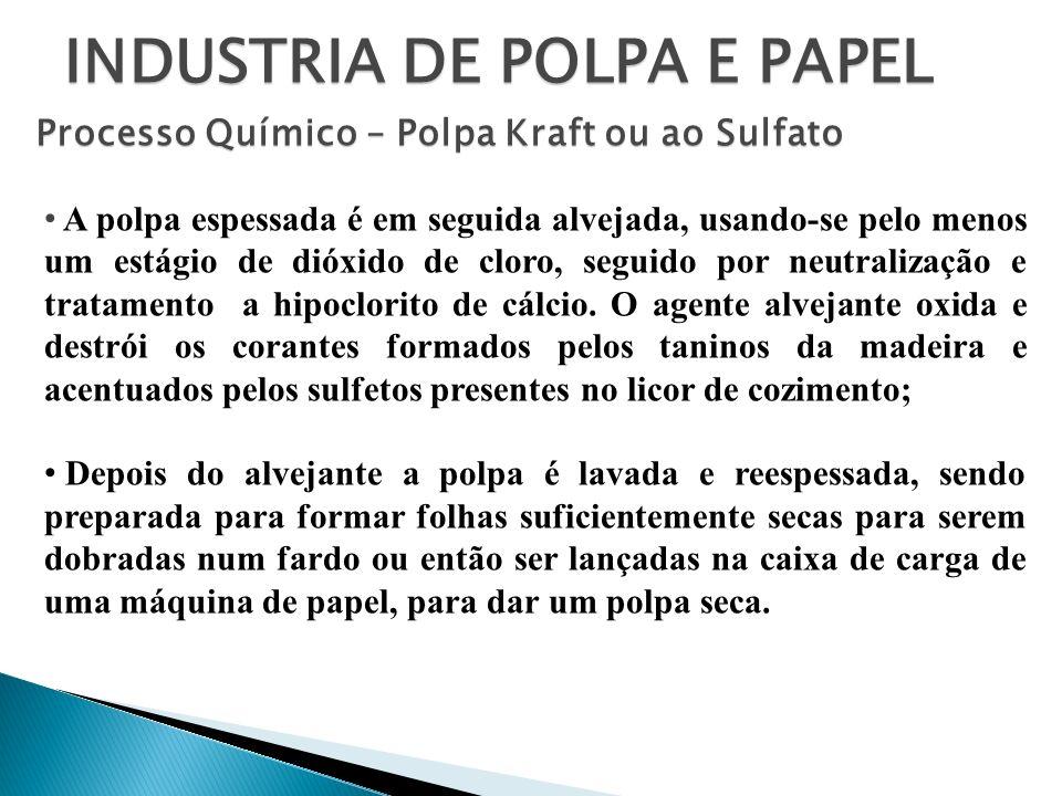 INDUSTRIA DE POLPA E PAPEL Processo Químico – Polpa Kraft ou ao Sulfato A polpa espessada é em seguida alvejada, usando-se pelo menos um estágio de di