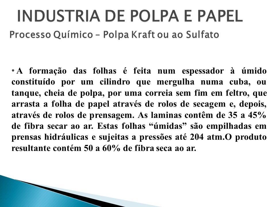 INDUSTRIA DE POLPA E PAPEL Processo Químico – Polpa Kraft ou ao Sulfato A formação das folhas é feita num espessador à úmido constituído por um cilind