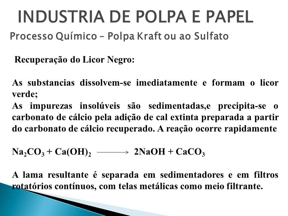 INDUSTRIA DE POLPA E PAPEL Processo Químico – Polpa Kraft ou ao Sulfato Recuperação do Licor Negro: As substancias dissolvem-se imediatamente e formam