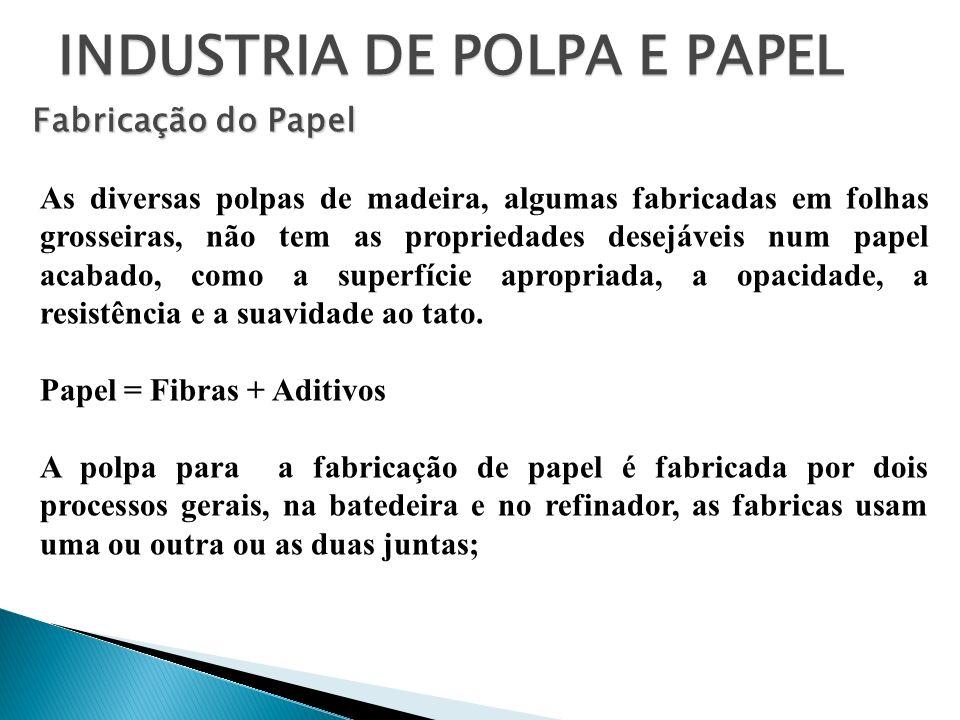 INDUSTRIA DE POLPA E PAPEL Fabricação do Papel As diversas polpas de madeira, algumas fabricadas em folhas grosseiras, não tem as propriedades desejáv