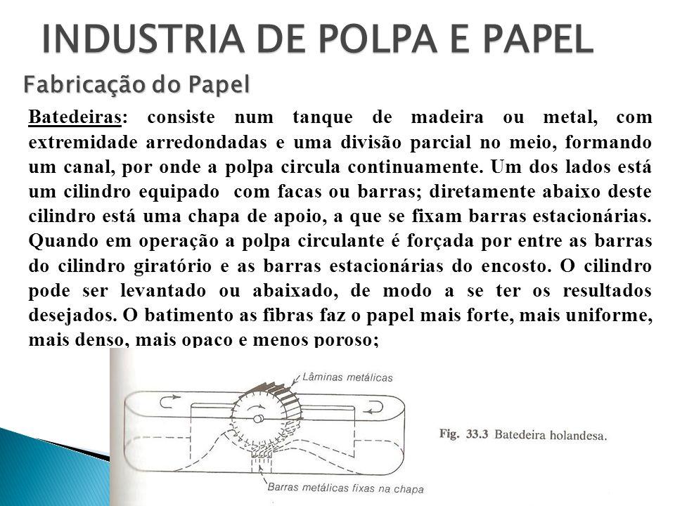 INDUSTRIA DE POLPA E PAPEL Fabricação do Papel Batedeiras: consiste num tanque de madeira ou metal, com extremidade arredondadas e uma divisão parcial