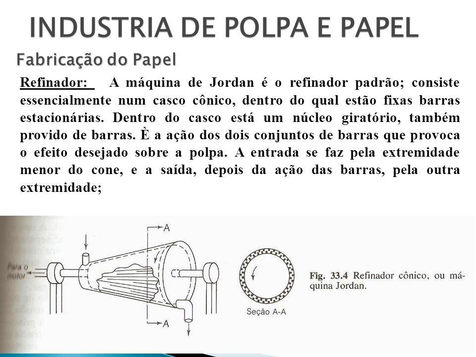 INDUSTRIA DE POLPA E PAPEL Fabricação do Papel Refinador: A máquina de Jordan é o refinador padrão; consiste essencialmente num casco cônico, dentro d