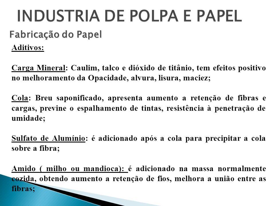 INDUSTRIA DE POLPA E PAPEL Fabricação do Papel Aditivos: Carga Mineral: Caulim, talco e dióxido de titânio, tem efeitos positivo no melhoramento da Op
