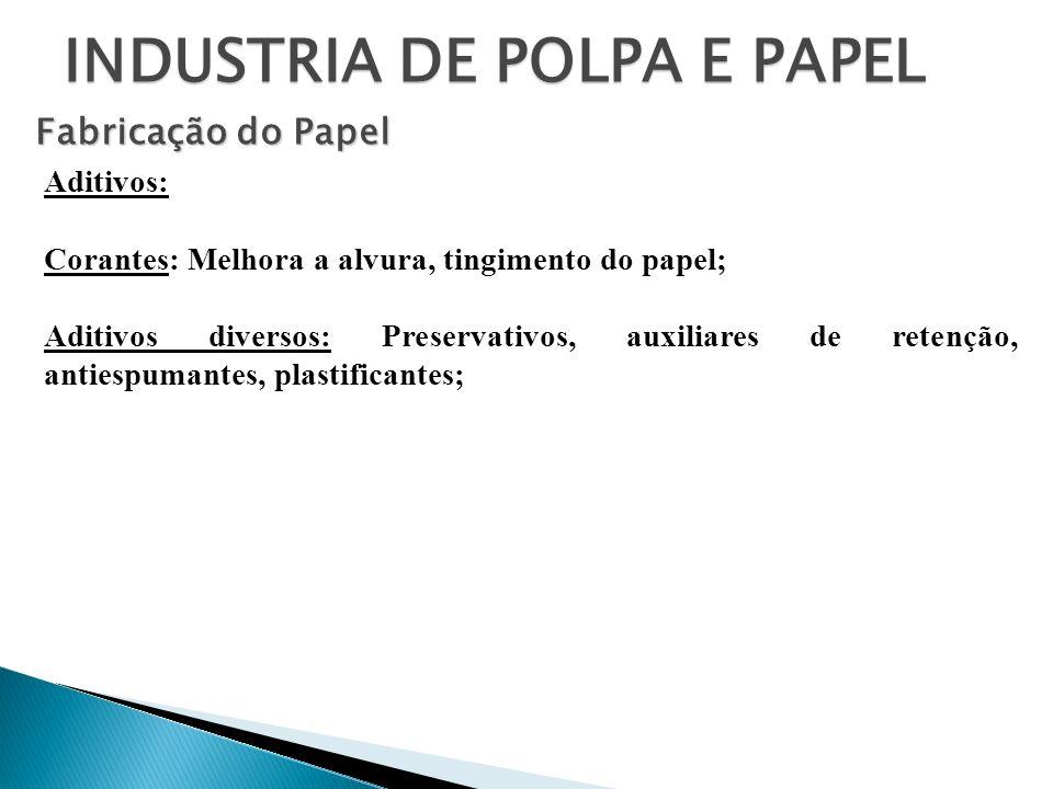 INDUSTRIA DE POLPA E PAPEL Fabricação do Papel Aditivos: Corantes: Melhora a alvura, tingimento do papel; Aditivos diversos: Preservativos, auxiliares