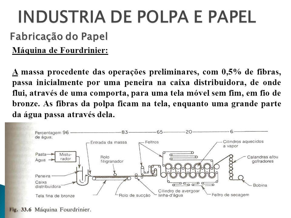 INDUSTRIA DE POLPA E PAPEL Fabricação do Papel Máquina de Fourdrinier: A massa procedente das operações preliminares, com 0,5% de fibras, passa inicia