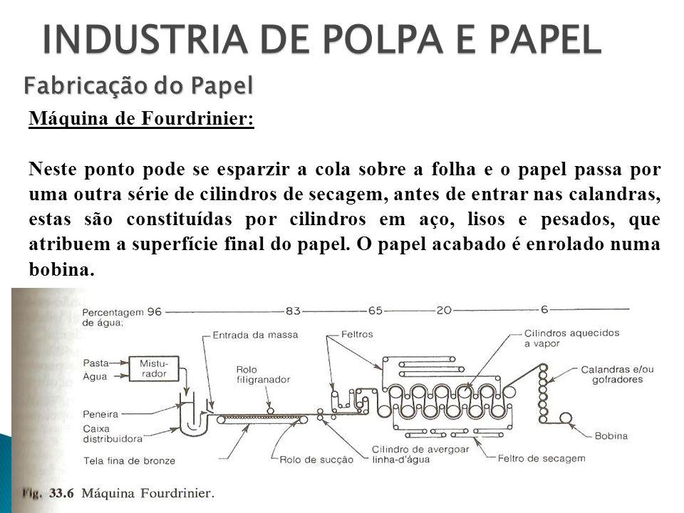 INDUSTRIA DE POLPA E PAPEL Fabricação do Papel Máquina de Fourdrinier: Neste ponto pode se esparzir a cola sobre a folha e o papel passa por uma outra
