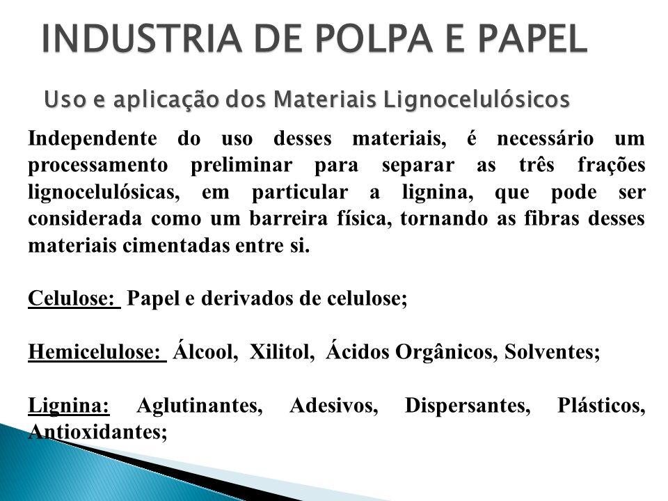 INDUSTRIA DE POLPA E PAPEL Independente do uso desses materiais, é necessário um processamento preliminar para separar as três frações lignocelulósica