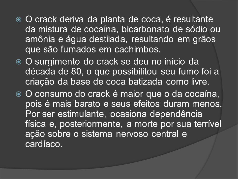 O crack deriva da planta de coca, é resultante da mistura de cocaína, bicarbonato de sódio ou amônia e água destilada, resultando em grãos que são fum
