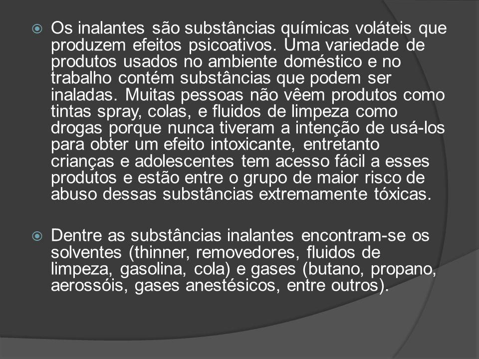 Os inalantes são substâncias químicas voláteis que produzem efeitos psicoativos. Uma variedade de produtos usados no ambiente doméstico e no trabalho