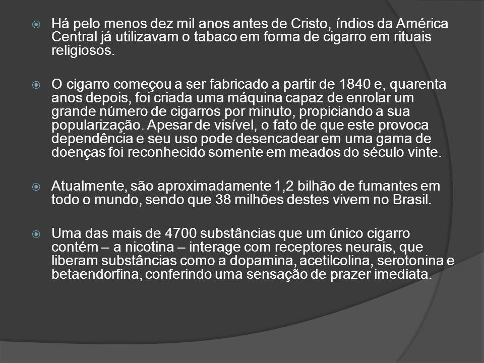 Há pelo menos dez mil anos antes de Cristo, índios da América Central já utilizavam o tabaco em forma de cigarro em rituais religiosos.