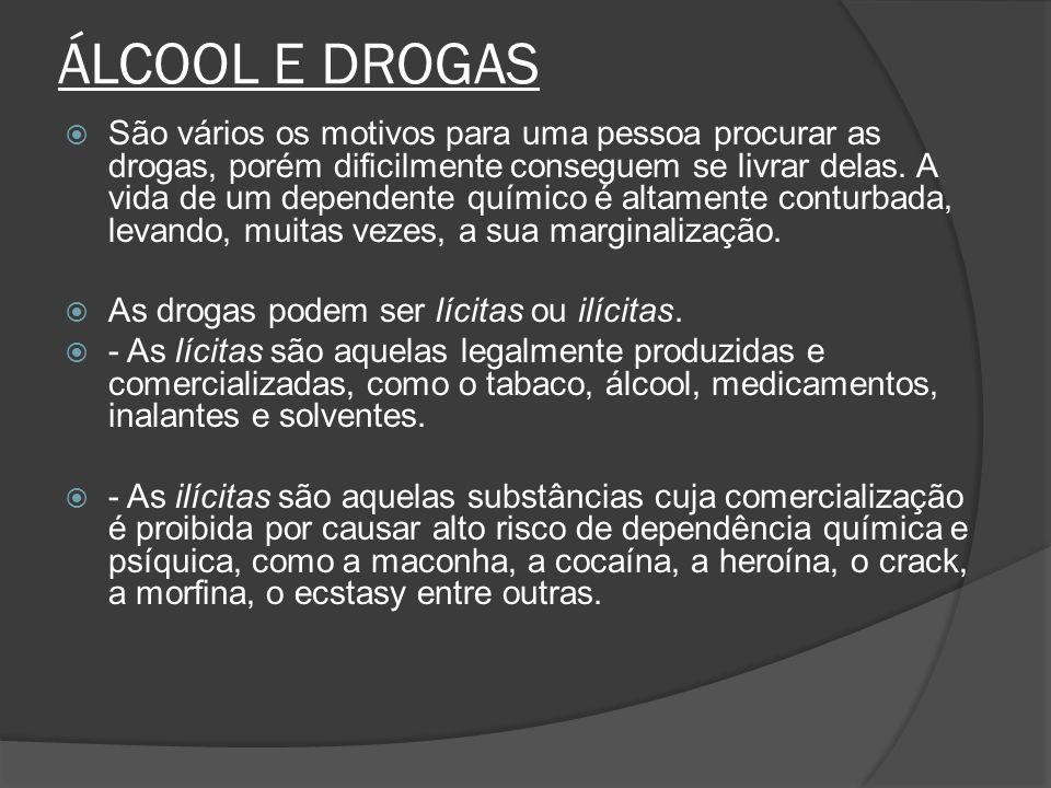 ÁLCOOL E DROGAS São vários os motivos para uma pessoa procurar as drogas, porém dificilmente conseguem se livrar delas. A vida de um dependente químic