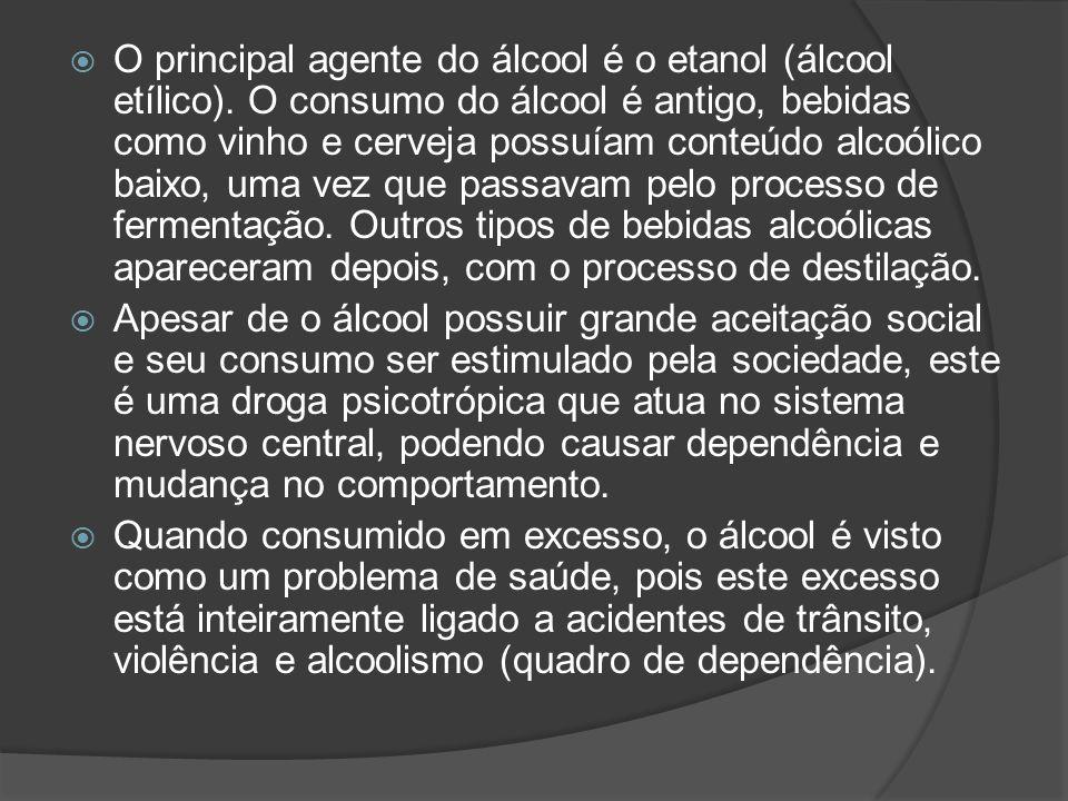 O principal agente do álcool é o etanol (álcool etílico).