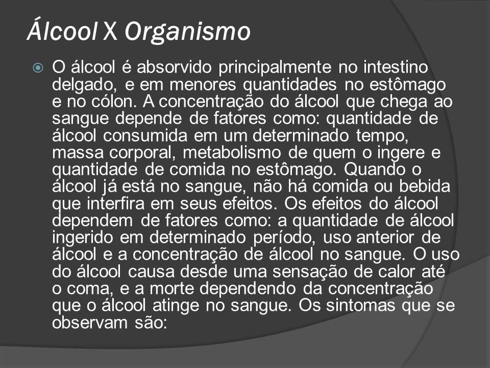 Álcool X Organismo O álcool é absorvido principalmente no intestino delgado, e em menores quantidades no estômago e no cólon. A concentração do álcool