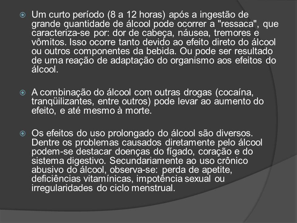 Um curto período (8 a 12 horas) após a ingestão de grande quantidade de álcool pode ocorrer a