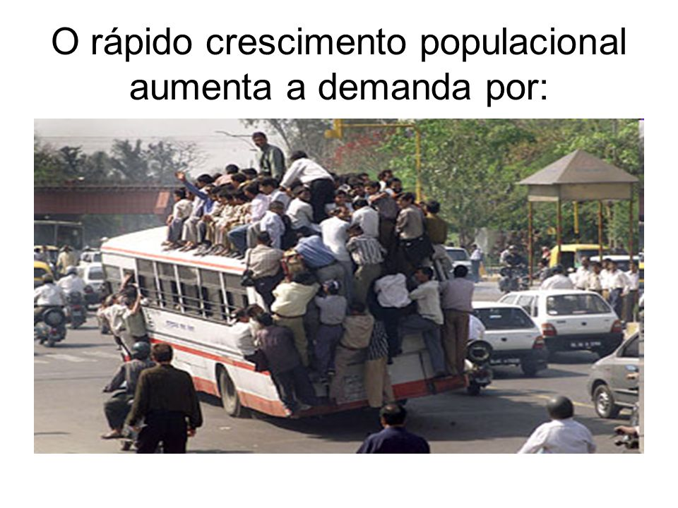O rápido crescimento populacional aumenta a demanda por:
