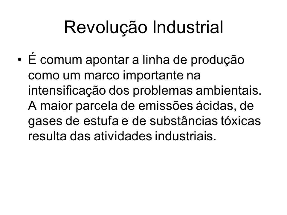Revolução Industrial É comum apontar a linha de produção como um marco importante na intensificação dos problemas ambientais. A maior parcela de emiss