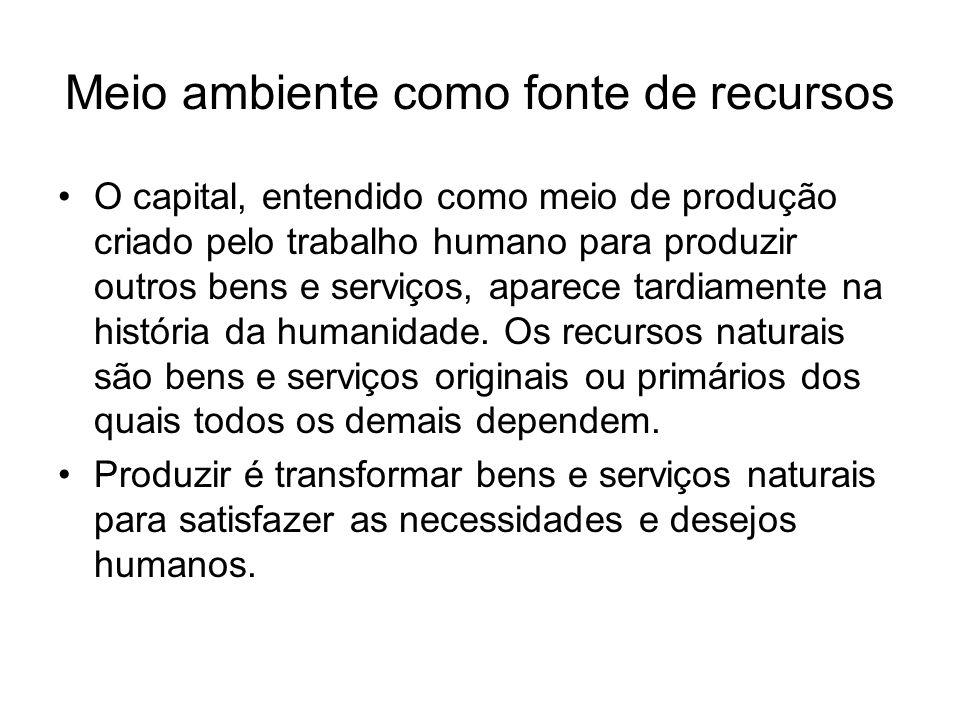 Meio ambiente como fonte de recursos O capital, entendido como meio de produção criado pelo trabalho humano para produzir outros bens e serviços, apar
