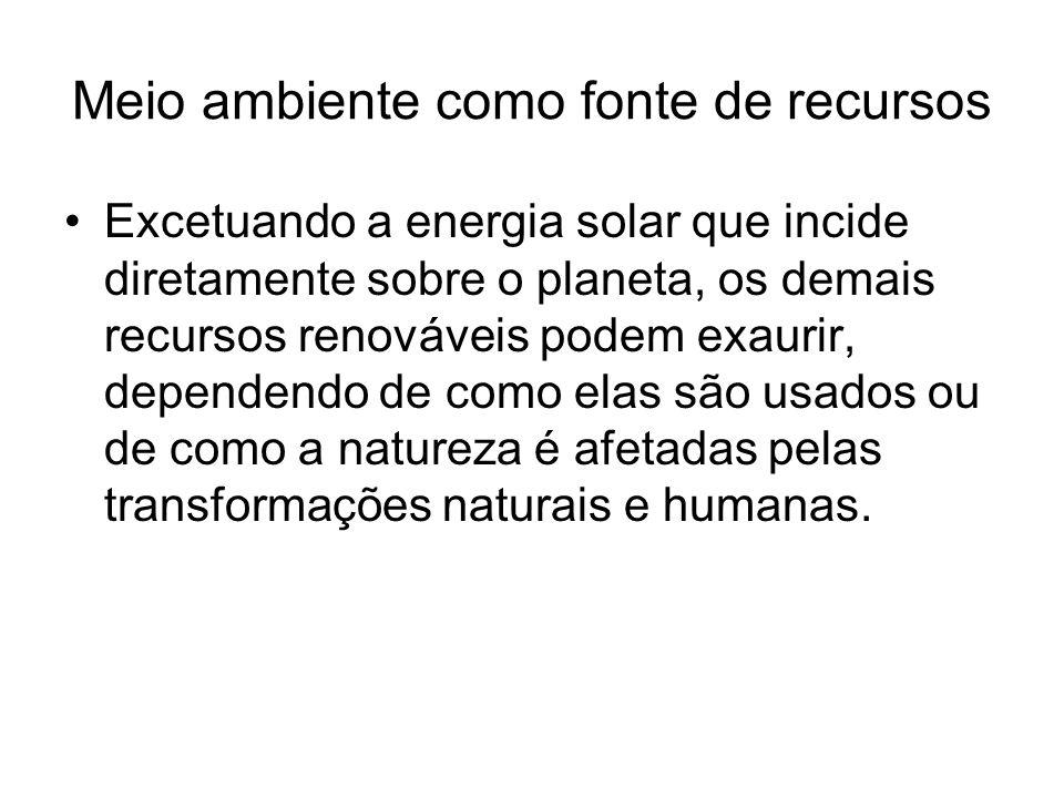 Meio ambiente como fonte de recursos Excetuando a energia solar que incide diretamente sobre o planeta, os demais recursos renováveis podem exaurir, d