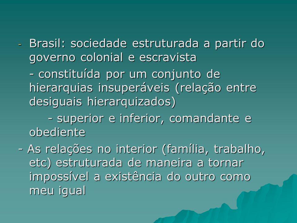 - Brasil: sociedade estruturada a partir do governo colonial e escravista - constituída por um conjunto de hierarquias insuperáveis (relação entre des