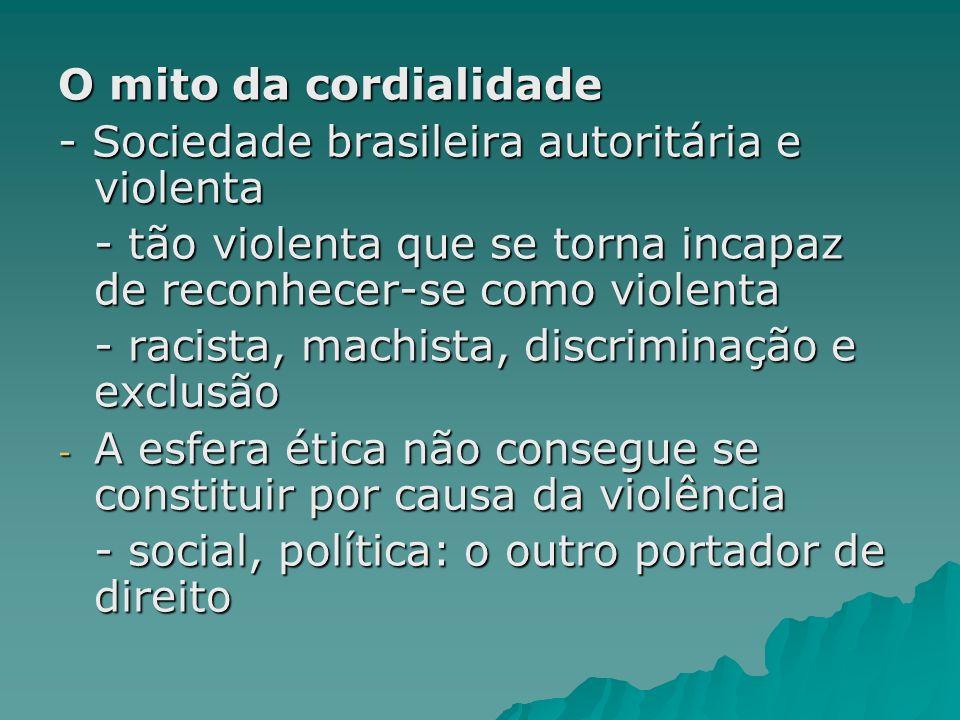 O mito da cordialidade - Sociedade brasileira autoritária e violenta - tão violenta que se torna incapaz de reconhecer-se como violenta - racista, mac