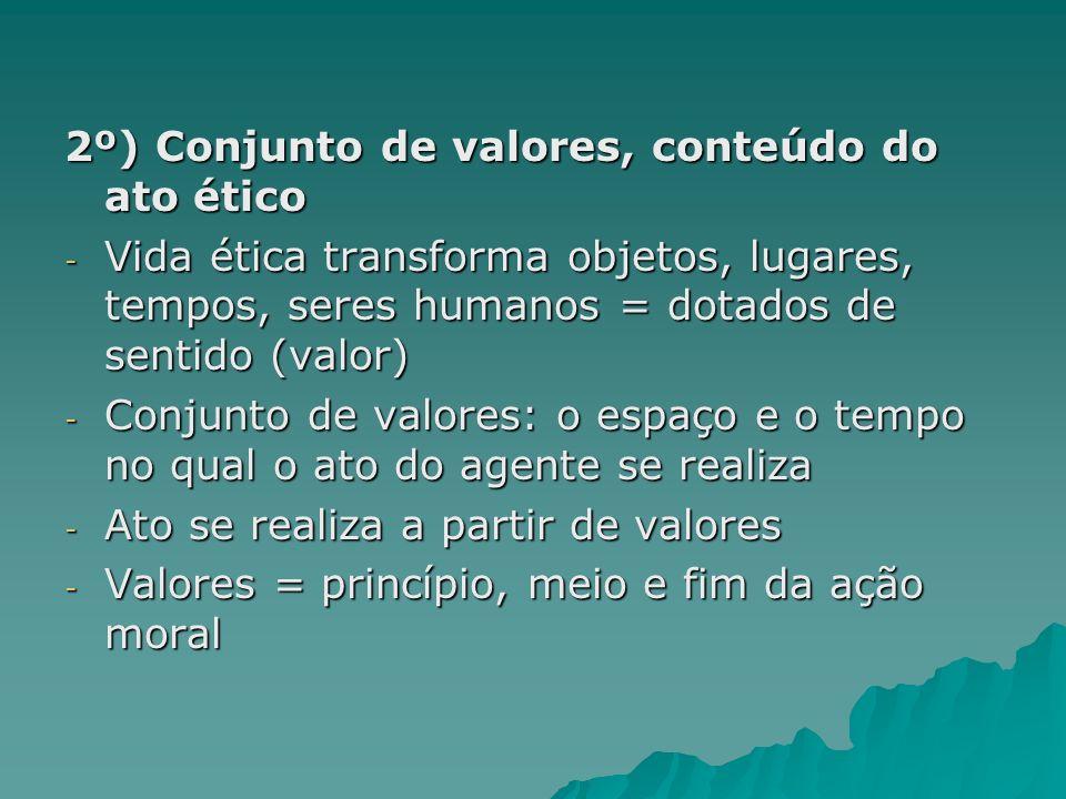 2º) Conjunto de valores, conteúdo do ato ético - Vida ética transforma objetos, lugares, tempos, seres humanos = dotados de sentido (valor) - Conjunto